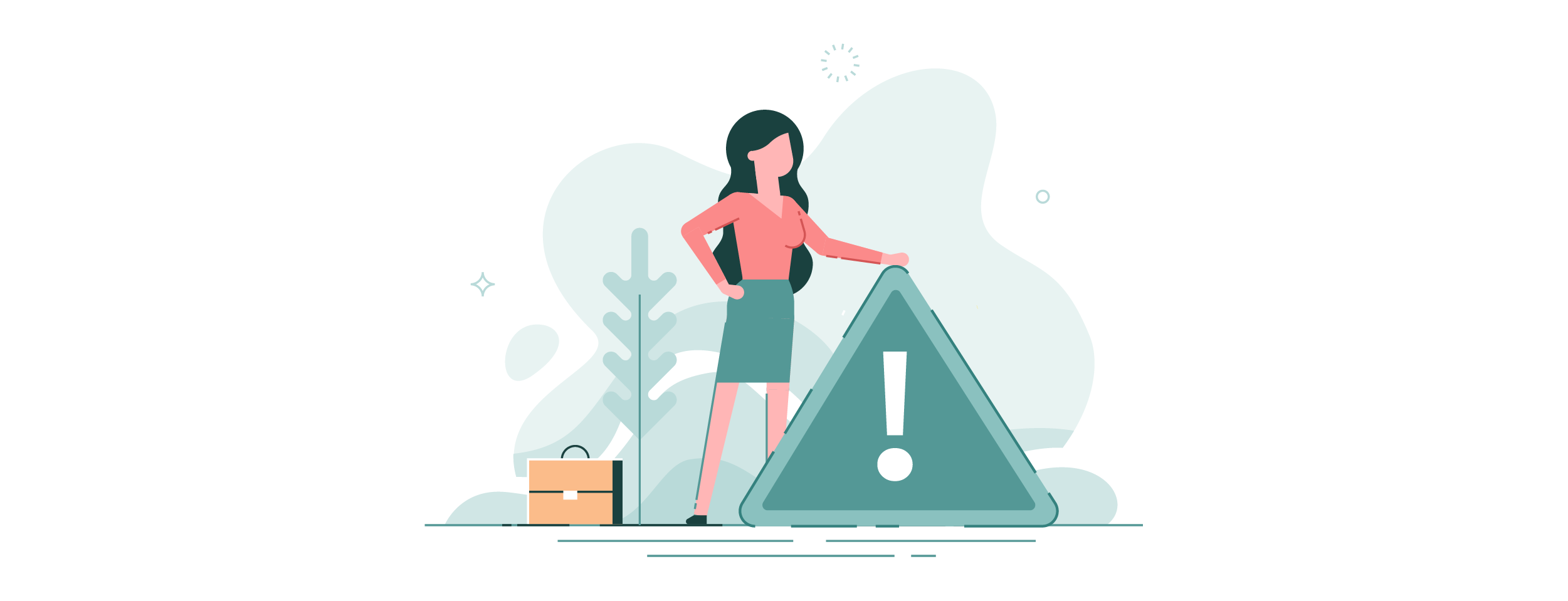 Illustration woman standing with a caution sign